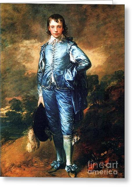 18th Century Greeting Cards - Knabe In Blau Greeting Card by Pg Reproductions