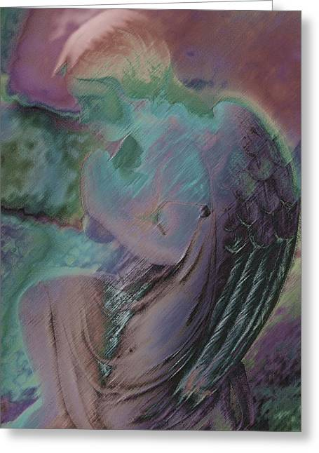 Praying Hands Greeting Cards - Kneeling Angel Greeting Card by Kathy Franklin