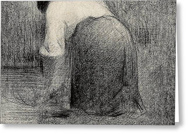 White Shirt Greeting Cards - Kneeling Woman Greeting Card by Georges Pierre Seurat