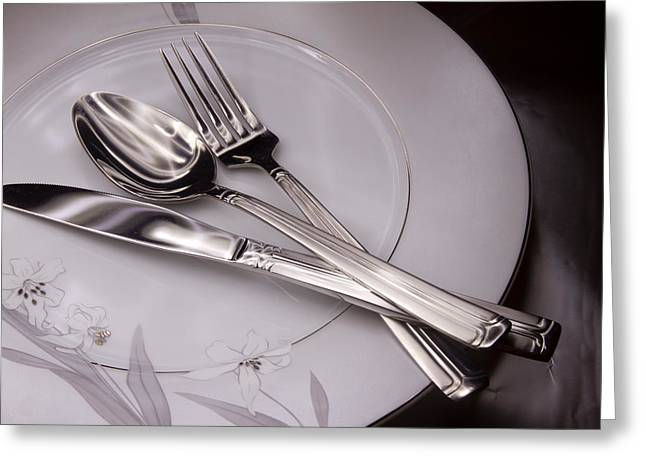 Stainless Steel Greeting Cards - Knife and fork in white plate  Greeting Card by Mina Fouad