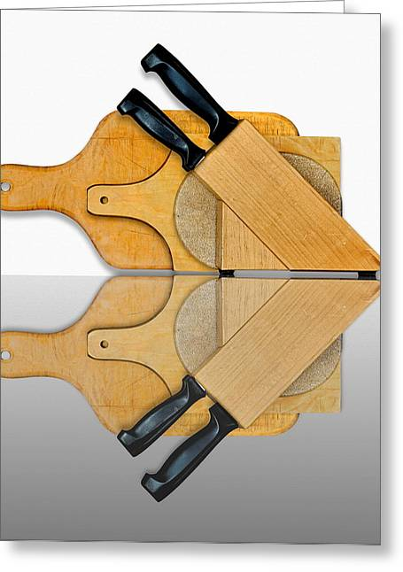 Wood Cutting Tools Greeting Cards - Knife Block and Cutting Boards Greeting Card by Joe Bonita