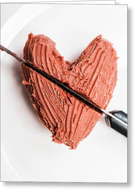 Knife Cutting Heart Shape Chocolate On Plate Greeting Card by Jorgo Photography - Wall Art Gallery