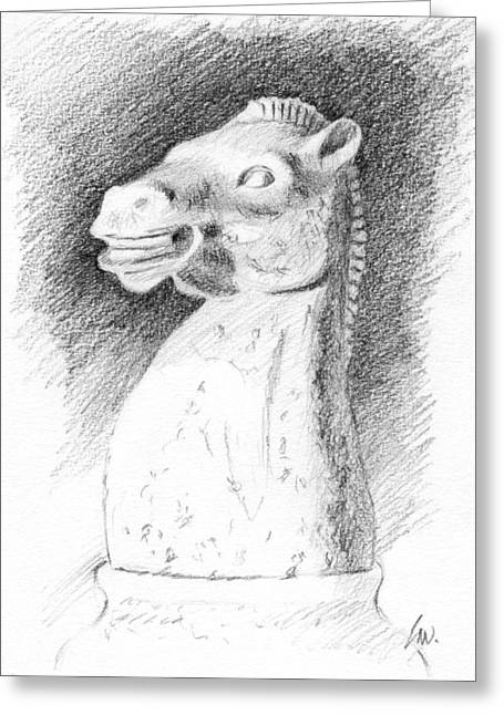 Chess Piece Drawings Greeting Cards - Knight Chess Piece Greeting Card by Joe Winkler