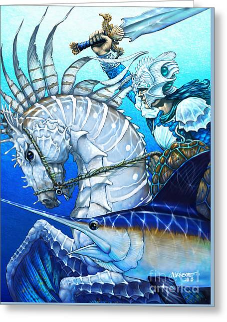 Knighted Digital Greeting Cards - Knight of Swords Greeting Card by Stanley Morrison
