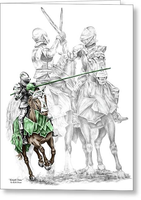 Kelli Drawings Greeting Cards - Knight Time - Renaissance Medieval Print color tinted Greeting Card by Kelli Swan