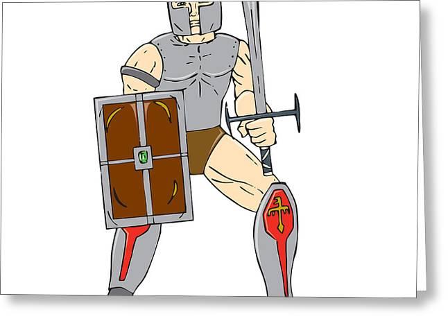 Sword Cartoon Greeting Cards - Knight Wielding Sword and Shield Cartoon Greeting Card by Aloysius Patrimonio