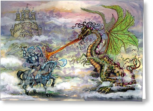 Dragons Greeting Cards - Knights n Dragons Greeting Card by Kevin Middleton