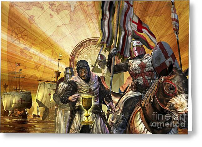 Masted Ships Greeting Cards - Knights Templar Are On A Mission Greeting Card by Kurt Miller