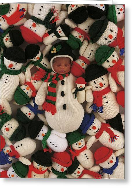 Knitted Snowman Greeting Card by Anne Geddes