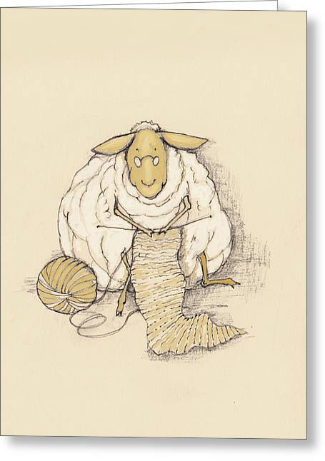 Knitting Sheep Greeting Card by Peggy Wilson