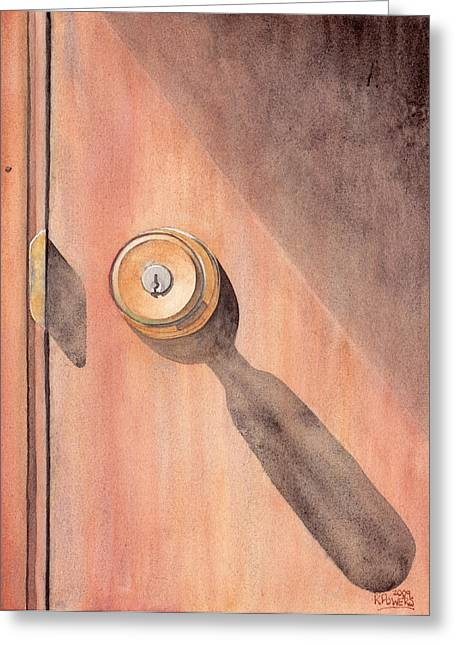 Door Knob Greeting Cards - Knob and Shadow Greeting Card by Ken Powers