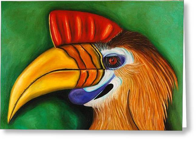Hornbill Paintings Greeting Cards - Knobbed Hornbill Greeting Card by Leah Saulnier The Painting Maniac