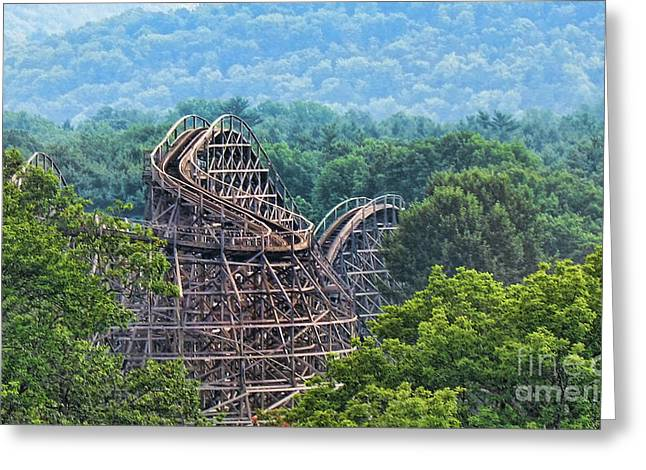 Amusements Greeting Cards - Knobels Wooden Roller Coaster  Greeting Card by Paul Ward