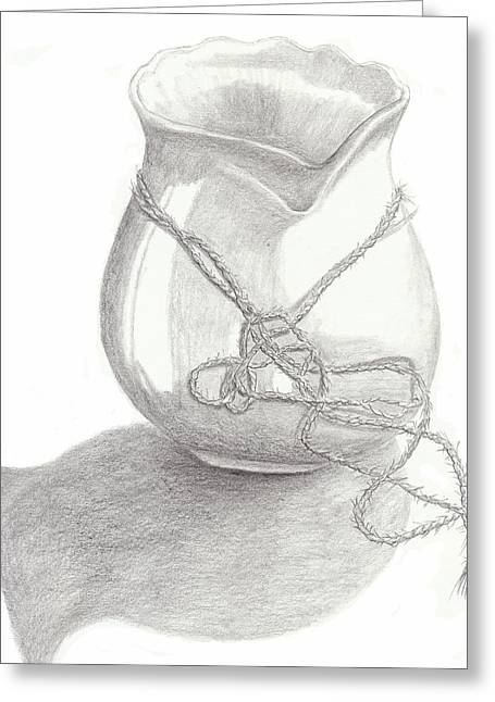 Graphite Poster Greeting Cards - Knots on Vase study Greeting Card by Jose Valeriano