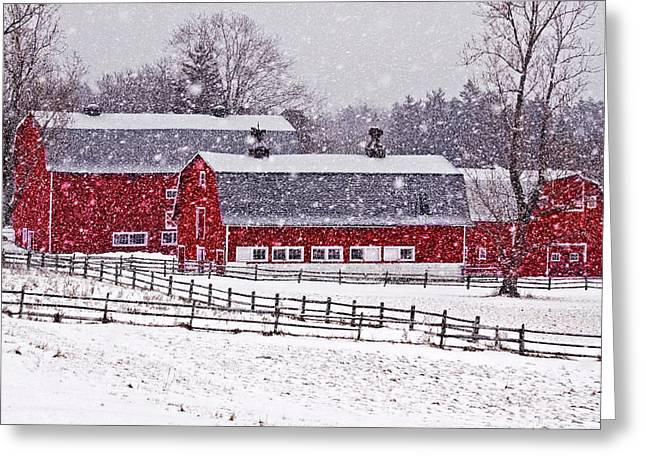 Red Barn Greeting Cards - Knox Farm Snowfall Greeting Card by Don Nieman