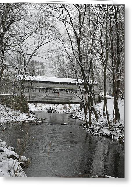 Knox Covered Bridge - Valley Forge Greeting Cards - Knox Valley Forge Covered Bridge in Winter Greeting Card by Bill Cannon