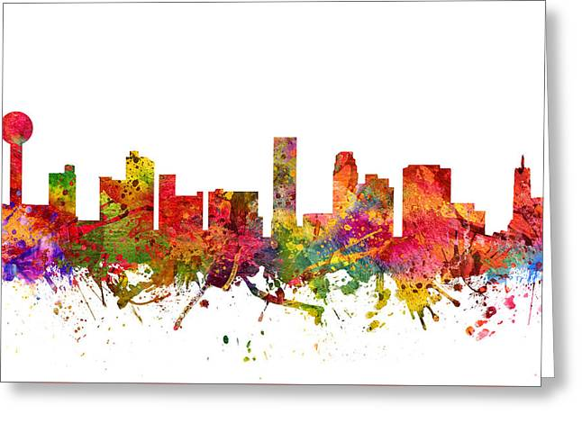 Tennessee Drawings Greeting Cards - Knoxville Cityscape 08 Greeting Card by Aged Pixel