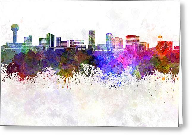 Tennessee Landmark Paintings Greeting Cards - Knoxville skyline in watercolor background Greeting Card by Pablo Romero