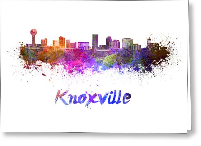 Tennessee Landmark Paintings Greeting Cards - Knoxville skyline in watercolor Greeting Card by Pablo Romero