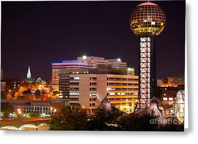 Office Space Greeting Cards - Knoxville, Tennessee skyline with the Sunsphere and the Worlds Fair park Greeting Card by Anthony Totah
