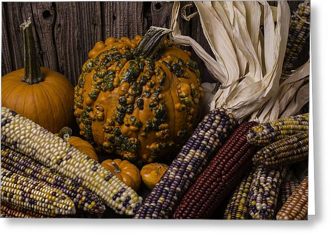 Ornamentation Greeting Cards - Knuklehead Pumpkin And Indian Corn Greeting Card by Garry Gay