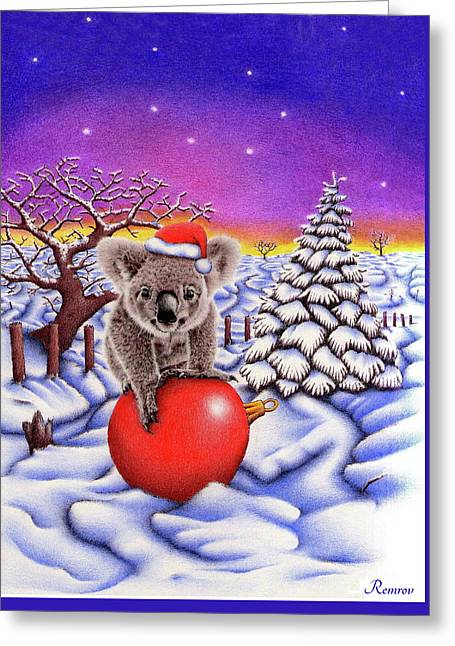 Koala On Christmas Ball Greeting Card by Remrov