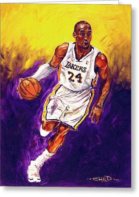 Los Angeles Lakers Greeting Cards - Kobe  Greeting Card by Brian Child