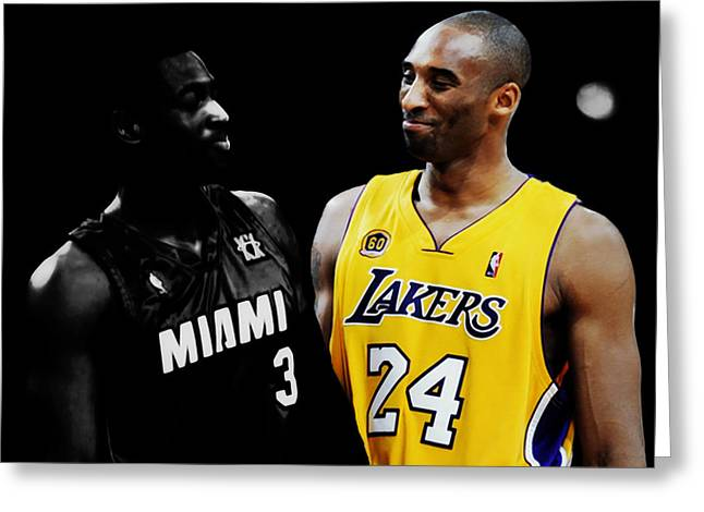 Kobe Bryant And Dwyane Wade 2 Greeting Card by Brian Reaves