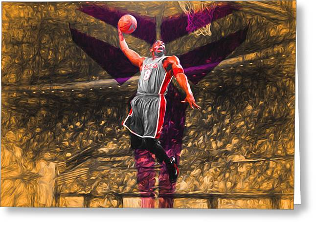 Kobe Bryant Black Mamba Digital Painting Greeting Card by David Haskett