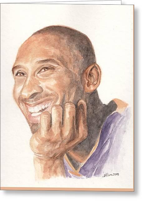 Kobe Bryant Greeting Card by Ellen Bernales