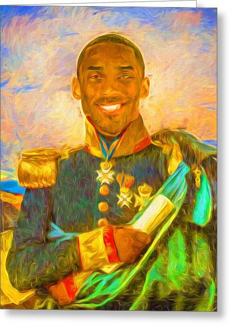 Kobe Bryant Floor General Digital Painting La Lakers Greeting Card by David Haskett