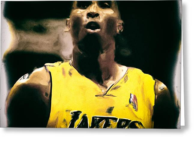 Karl Malone Greeting Cards - Kobe Bryant Focus Greeting Card by Brian Reaves