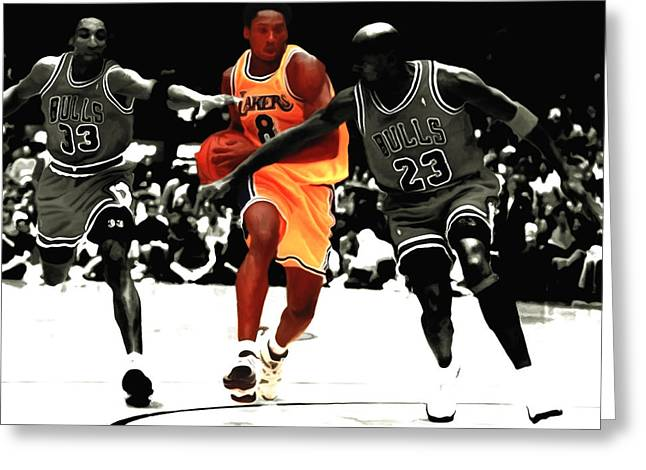 Pippen Mixed Media Greeting Cards - Kobe Bryant in Traffic Greeting Card by Brian Reaves
