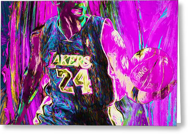 Kobe Bryant La Lakers Digital Painting 3 Greeting Card by David Haskett
