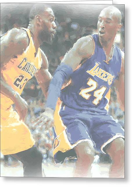 Kobe Bryant Lebron James 2 Greeting Card by Joe Hamilton