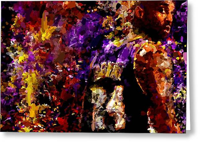 Leon Jimenez Greeting Cards - Kobe Bryant Looking Back Signed Prints available at laartwork.com Coupon Code KODAK Greeting Card by Leon Jimenez