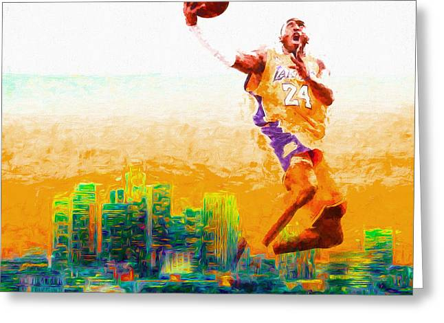 Kobe Bryant Los Angeles Lakers Digital Painting 1 Greeting Card by David Haskett