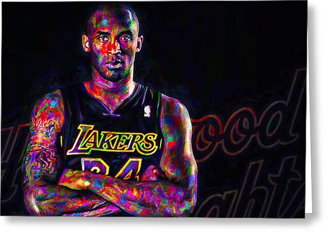 Kobe Bryant Los Angeles Lakers Digital Painting 2 Greeting Card by David Haskett