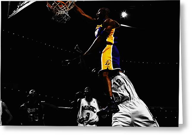 Kobe Bryant On Top Of Dwight Howard Greeting Card by Brian Reaves