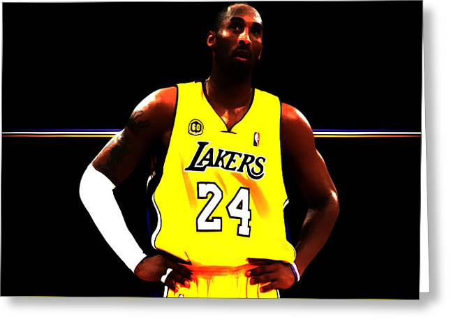 Karl Malone Greeting Cards - Kobe Bryant Ready for Battle Greeting Card by Brian Reaves