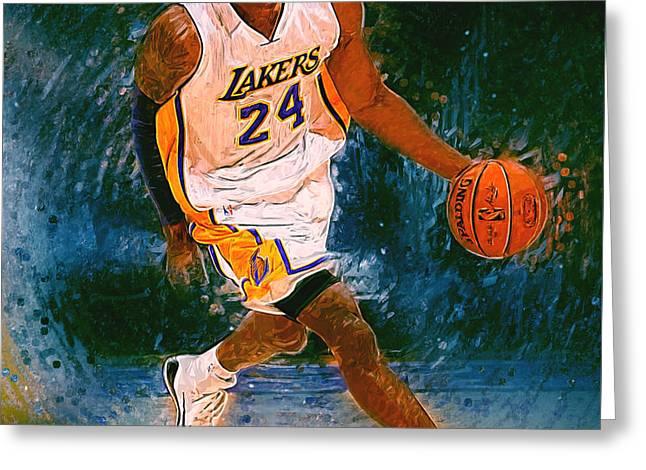 Kobe Bryant Greeting Card by Semih Yurdabak