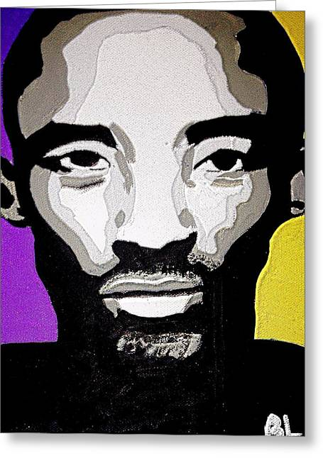 Lakers Paintings Greeting Cards - Kobe Bryant the BlacK Mamba Greeting Card by Breanna Lewis