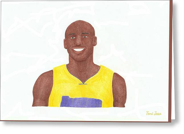 Slam Drawings Greeting Cards - Kobe Bryant Greeting Card by Toni Jaso