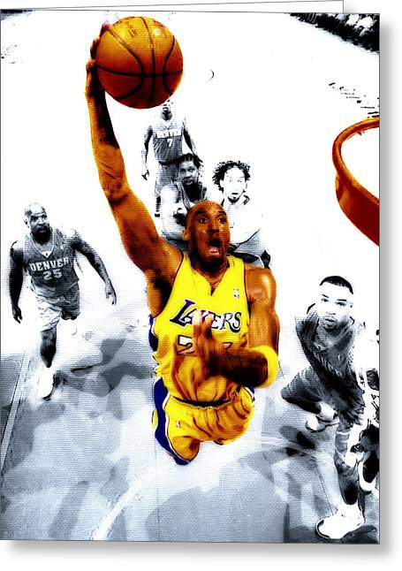 Karl Malone Greeting Cards - Kobe Bryant took Flight Greeting Card by Brian Reaves