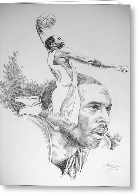 Slam Drawings Greeting Cards - Kobe Greeting Card by Otis  Cobb