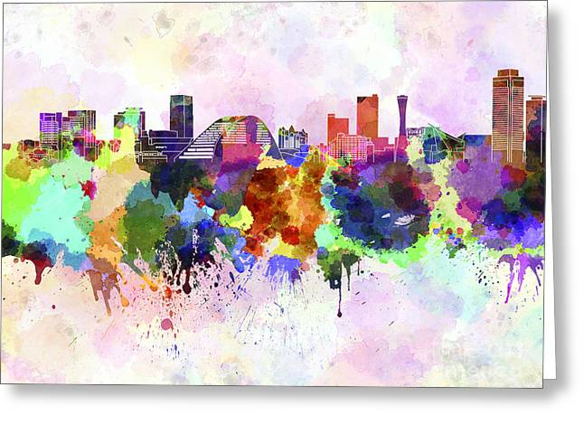Kobe Skyline In Watercolor Background Greeting Card by Pablo Romero