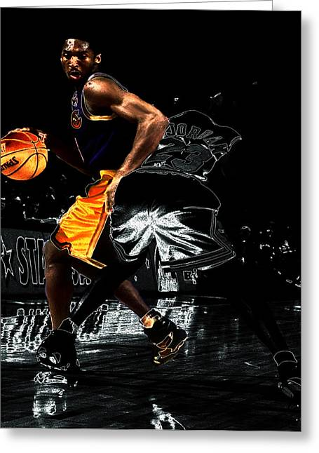 La Lakers Greeting Cards - Kobe Spin Move on Jordan Greeting Card by Brian Reaves
