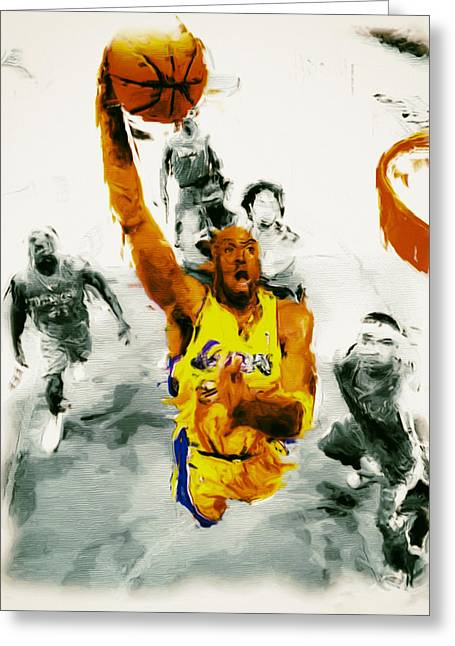Bryant Paintings Greeting Cards - Kobe Took Flight 3a Greeting Card by Brian Reaves
