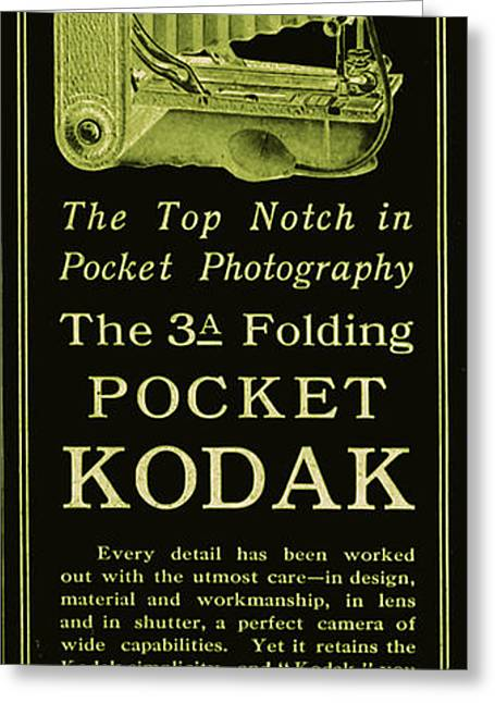 Advertisment Greeting Cards - Kodak 3A Folding Camera Ad Greeting Card by The  Vault - Jennifer Rondinelli Reilly