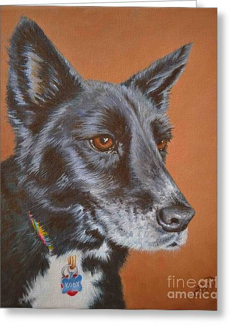 Dog And His Owner Greeting Cards - Kody Greeting Card by Claudine Pond